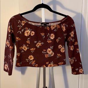 Off the shoulder maroon floral crop top!